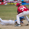 Chuck Stone LL's Dylan Fountain apllies a tag to Lunenburg LL All-Star Dyaln Adamson during their playoff game at Salevan Field in Athol. SENTINEL&ENTERPRISE / Jim Marabello