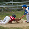 Lunenburg LL All-Star Luke Augusta apllies a tag to Chuck Stone LL's Dylan Fountain during their playoff game at Salevan Field in Athol. SENTINEL&ENTERPRISE / Jim Marabello
