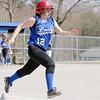 Lunenburg's Kaitlyn Roane runs to first during action in their game against Littleton. SENTINEL & ENTERPRISE/ JOHN LOVE