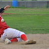 Joe Balboni slides safely into third as the Lunenburg Phillies faced off against the Framingham A's in the CNEBA quarterfinals on Wednesday evening. SENTINEL & ENTERPRISE / Ashley Green