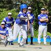Lunenburg Baseball vs Bartlett on Monday afternoon. Lunenburg's Jeff Kerr bunts during action in the game. SENTINEL & ENTERPRISE/JOHN LOVE