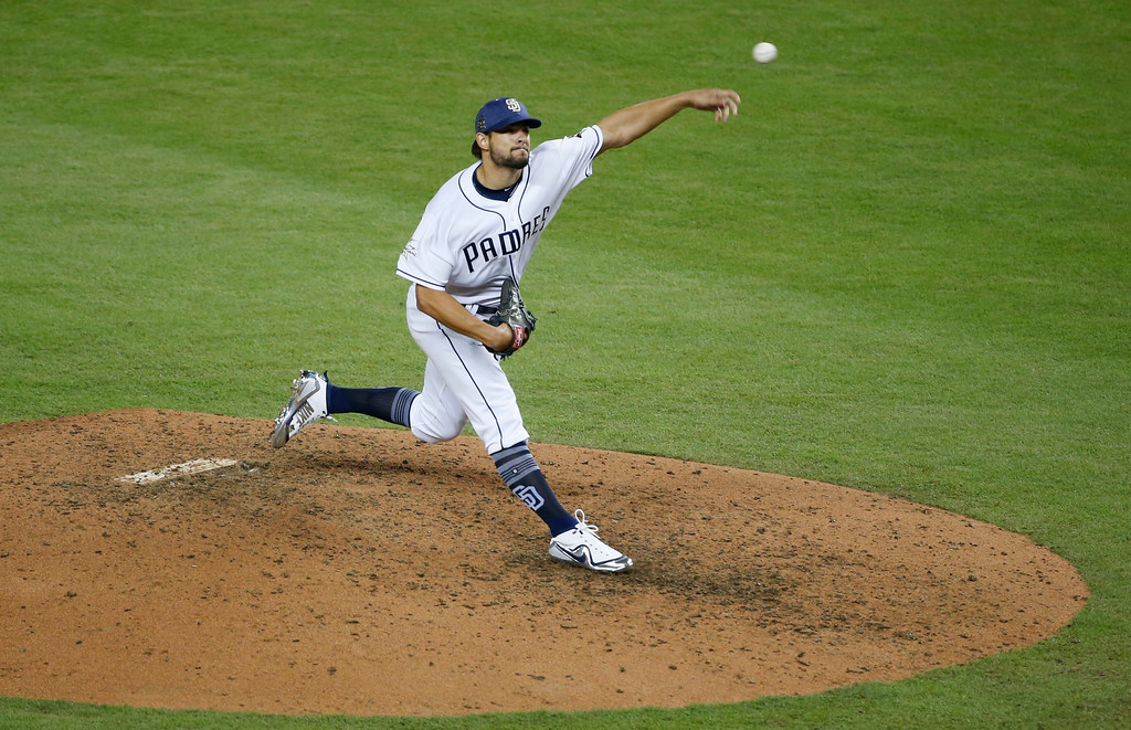 . National League\'s San Diego Padres pitcher Brad Hand (52), delivers a pitch, during the MLB baseball All-Star Game, Tuesday, July 11, 2017, in Miami. (AP Photo/Wilfredo Lee)
