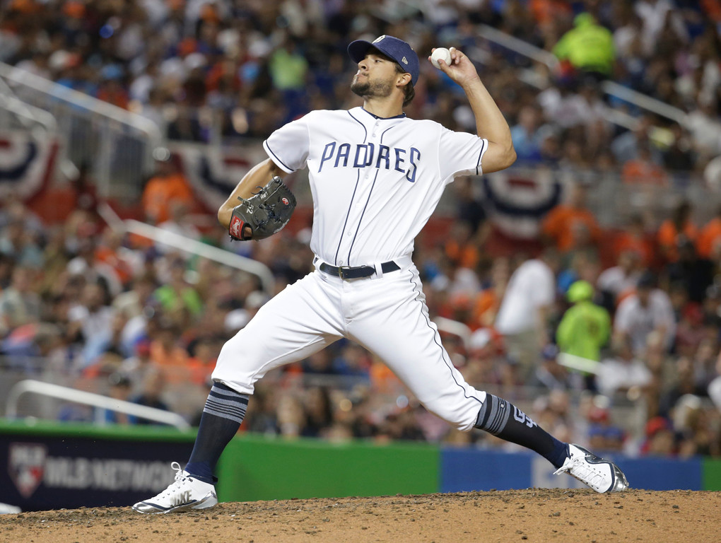 . National League\'s San Diego Padres pitcher Brad Hand (52), delivers a pitch, during the MLB baseball All-Star Game, Tuesday, July 11, 2017, in Miami. (AP Photo/Lynne Sladky)