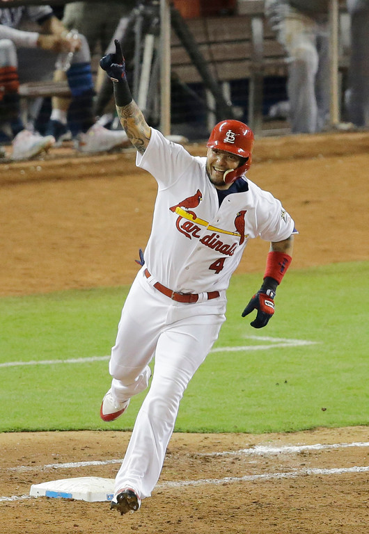 . National League\'s St. Louis Cardinals catcher Yadier Molina (4), rounds the bases after hitting a homerun in the sixth inning, during the MLB baseball All-Star Game, Tuesday, July 11, 2017, in Miami. (AP Photo/Alan Diaz)