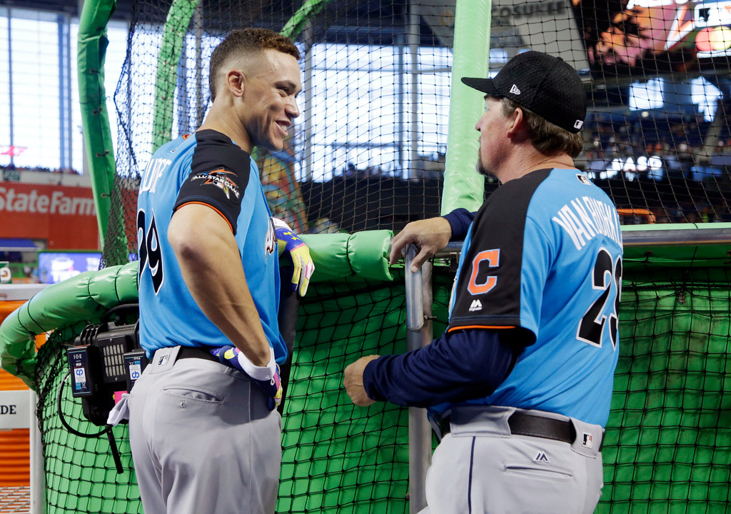 . American League\'s New York Yankees Aaron Judge (99), talks to Cleveland Indians hitting coach Ty Van Burkleo, before the MLB baseball All-Star Game, Tuesday, July 11, 2017, in Miami. (AP Photo/Lynne Sladky)