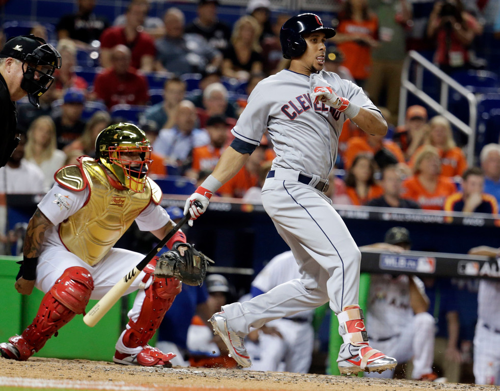 . American League\'s Cleveland Indians Michael Brantley (23), hits in the eighth inning during the MLB baseball All-Star Game, Tuesday, July 11, 2017, in Miami. (AP Photo/Lynne Sladky)