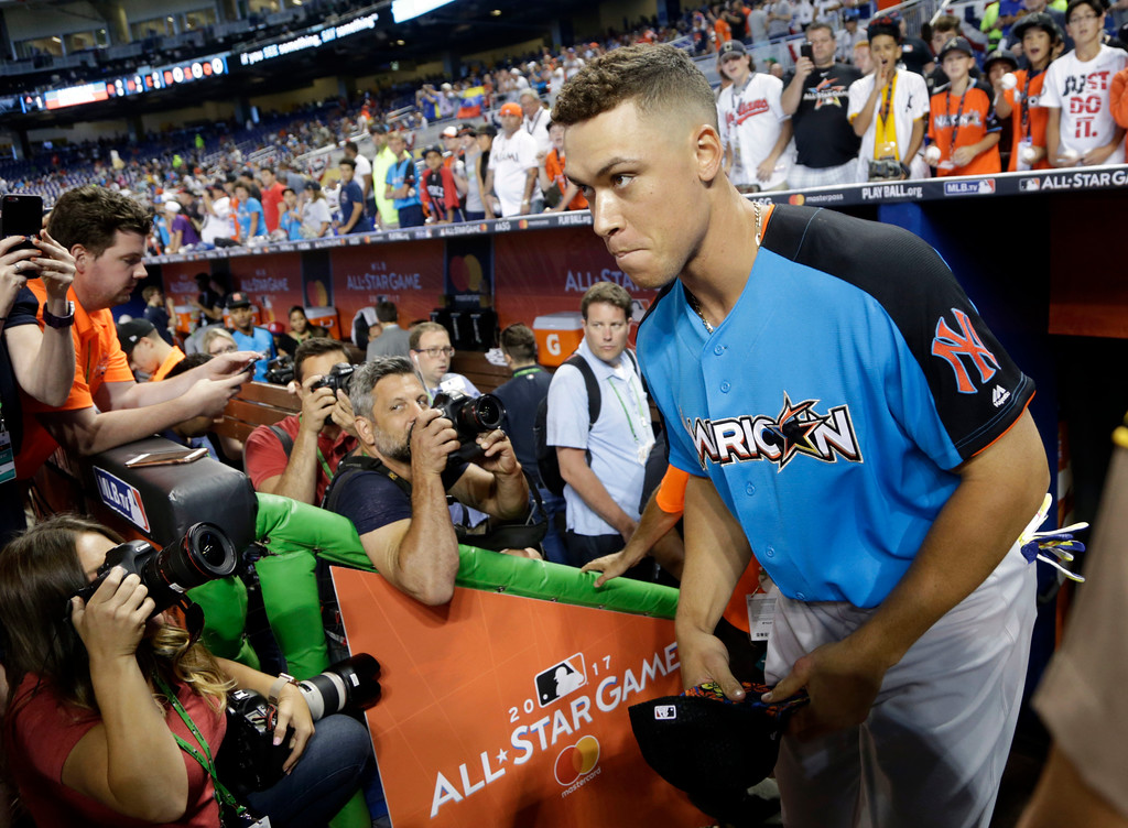 . American League\'s New York Yankees Aaron Judge (99), enters the field prior to the the MLB baseball All-Star Game, Tuesday, July 11, 2017, in Miami. (AP Photo/Lynne Sladky)