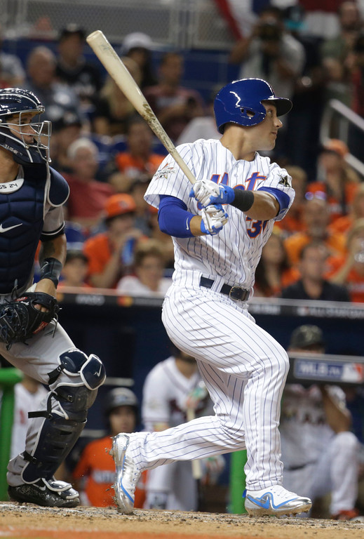 . National League\'s New York Mets Michael Conforto (30), hits during the seventh inning, at the MLB baseball All-Star Game, Tuesday, July 11, 2017, in Miami. (AP Photo/Lynne Sladky)
