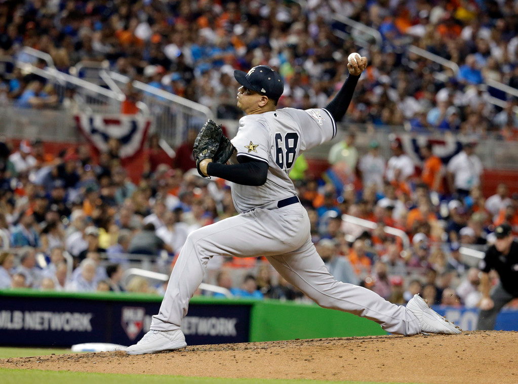 . American League\'s New York Yankees pitcher Dellin Betances (68), delivers a pitch, during the third inning at the MLB baseball All-Star Game, Tuesday, July 11, 2017, in Miami. (AP Photo/Lynne Sladky)