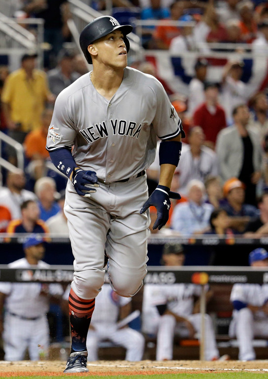 . American League\'s New York Yankees Aaron Judge (99), watches his hit in the fifth inning, during the MLB baseball All-Star Game, Tuesday, July 11, 2017, in Miami. (AP Photo/Lynne Sladky)