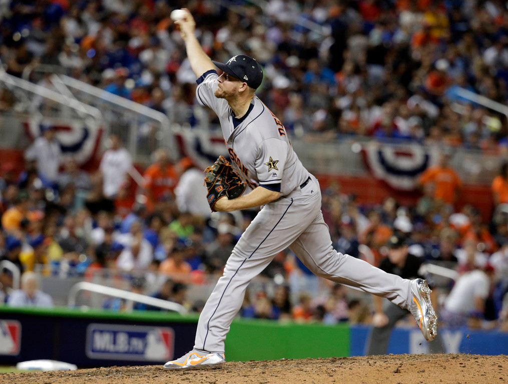 . American League\'s Houston Astros pitcher Chris Devenski (47) delivers a pitch in the eight inning, during the MLB baseball All-Star Game, Tuesday, July 11, 2017, in Miami. (AP Photo/Wilfredo Lee)