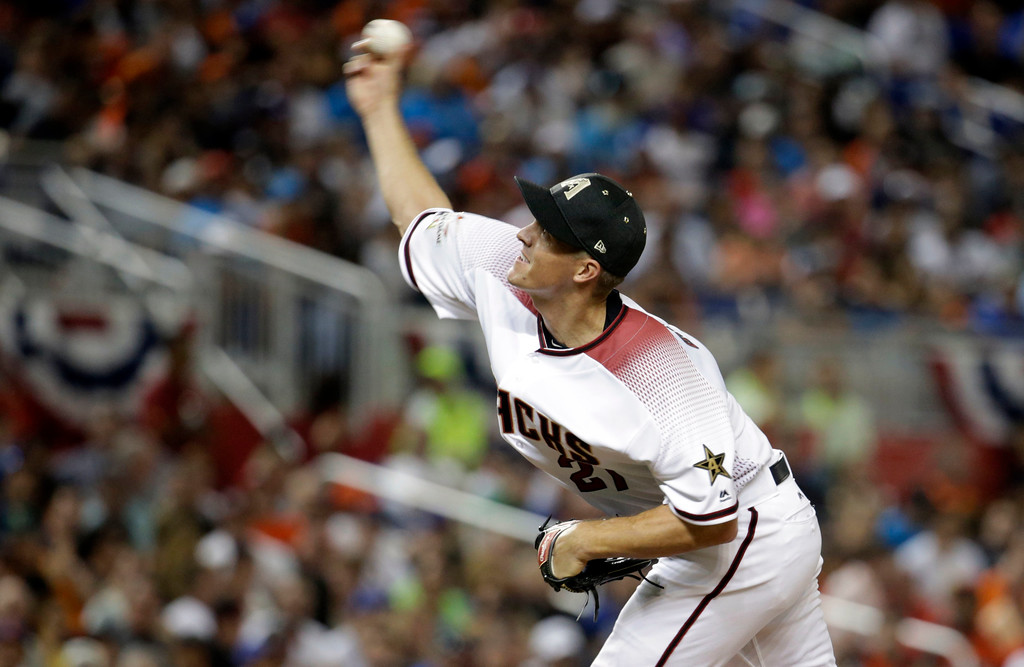 . National League\'s Arizona Diamondbacks pitcher Zack Greinke (21), delivers a pitch in the sixth inning, during the MLB baseball All-Star Game, Tuesday, July 11, 2017, in Miami. (AP Photo/Lynne Sladky)