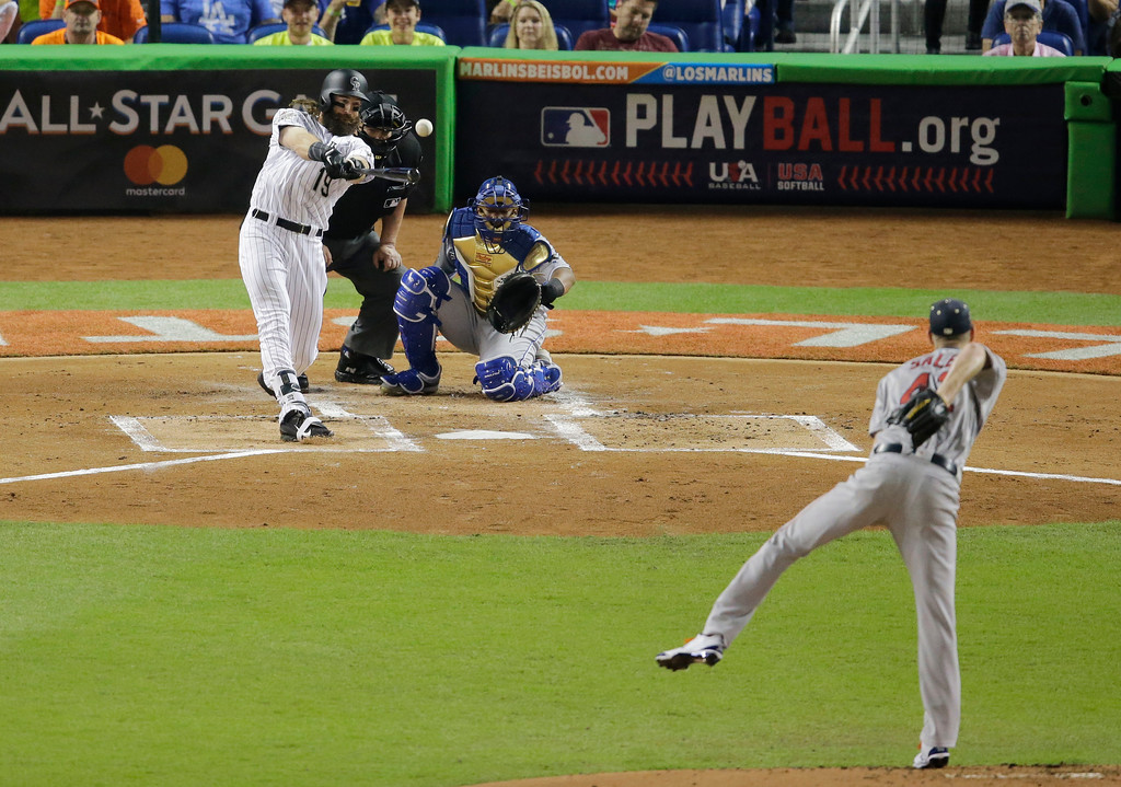 . National League\'s Colorado Rockies Charlie Blackmon(19), hits during the first inning at the MLB baseball All-Star Game, Tuesday, July 11, 2017, in Miami. (AP Photo/Alan Diaz)
