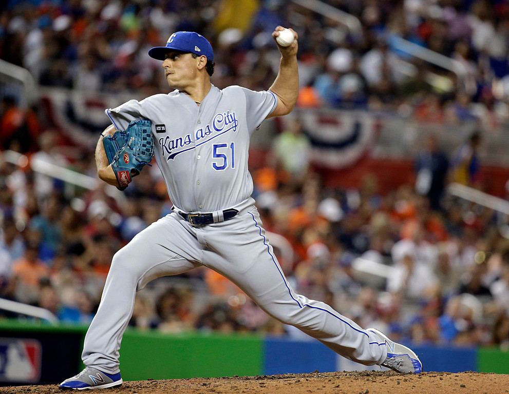 . American League\'s Kansas City Royals pitcher Jason Vargas (51), delivers a pitch during the fourth inning, during the MLB baseball All-Star Game, Tuesday, July 11, 2017, in Miami. (AP Photo/Lynne Sladky)