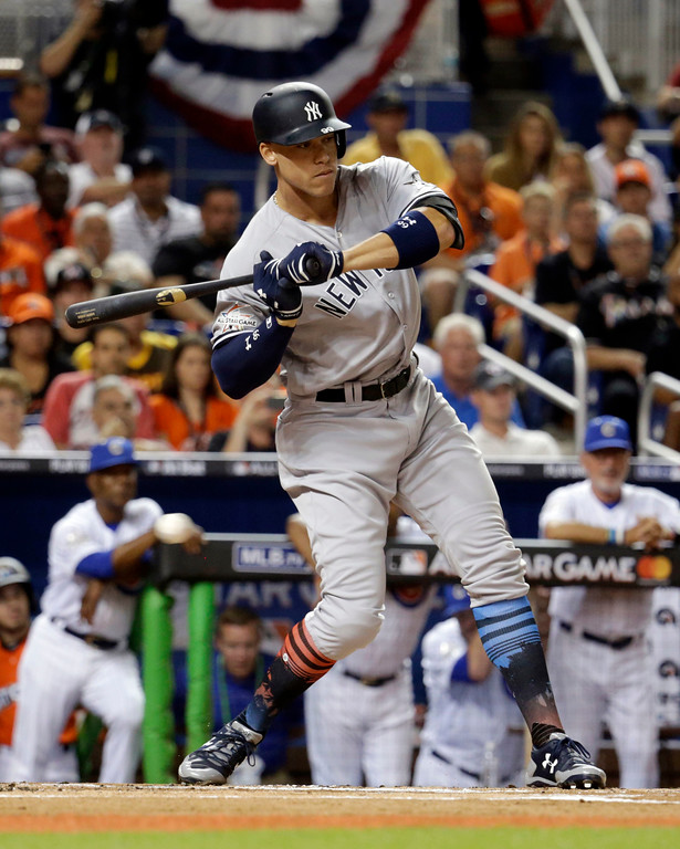 . American League\'s New York Yankees Aaron Judge (99), eyes a pitch, during the first inning at the MLB baseball All-Star Game, Tuesday, July 11, 2017, in Miami. (AP Photo/Lynne Sladky)