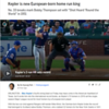"Kepler is new European-born home run king<br /> No. 33 breaks mark Bobby Thompson set with ""Shot Heard 'Round the World"" in 1951<br /> <a href=""https://www.mlb.com/twins/news/max-kepler-sets-european-born-home-run-record"">https://www.mlb.com/twins/news/max-kepler-sets-european-born-home-run-record</a><br /> <br /> 8.16.19<br /> <br /> By Do-Hyoung Park  @dohyoungpark<br /> an hour ago<br /> Facebook Share<br /> Twitter Share<br /> Email<br /> Copy Link<br /> ARLINGTON -- Max Kepler's fourth-inning blast on Friday may have come in the American heartland of Texas, but it wrote him into the international record books, as Kepler's 33 homers in 2019 set the single-season Major League record for most homers by a European-born player.<br /> <br /> With the two-run shot against Rangers left-hander Mike Minor, the German-born Kepler broke the record that belonged to Scotland native Bobby Thomson, who clubbed 32 homers for the New York Giants in 1951. You might have heard of Thomson's final blast that season, the famous ""Shot Heard 'Round the World"" against the Brooklyn Dodgers on Oct. 3, 1951, that clinched the National League pennant.<br /> <br /> • Box score<br /> <br /> Kepler's record-breaking shot didn't change the course of baseball like Thomson's homer did, but it did give the Twins an early 2-0 lead at Globe Life Park.<br /> <br /> The 26-year-old Kepler, who was signed to a five-year extension during the offseason, has long since passed his career-high mark of 20 homers, and he has increased his home run total in each of his four full seasons in the Major Leagues."