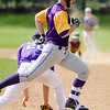 Monty Tech's Andrew Ptak is tagged out at first base during the game against Blackstone Valley on Tuesday afternoon. SENTINEL & ENTERPRISE / Ashley Green