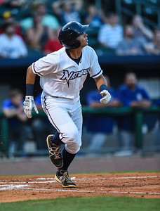 Northwest Arkansas Naturals shortstop Kenny Diekroeger (8) heads to first during NWA Naturals vs Tulsa Drillers ballgame at Arvest Ballpark in Springdale, Arkansas, on Thursday, June 25, 2015.  The Drillers won 3-2.  Photos by Alan Jamison.