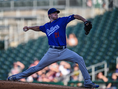 Tulsa Drillers pitcher Ross Stripling (21) pitches during NWA Naturals vs Tulsa Drillers ballgame at Arvest Ballpark in Springdale, Arkansas, on Thursday, June 25, 2015.  The Drillers won 3-2.  Photos by Alan Jamison.