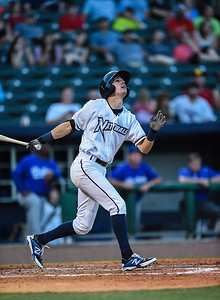 Northwest Arkansas Naturals second baseman Logan Davis (26) bats during NWA Naturals vs Tulsa Drillers ballgame at Arvest Ballpark in Springdale, Arkansas, on Thursday, June 25, 2015.  The Drillers won 3-2.  Photos by Alan Jamison.