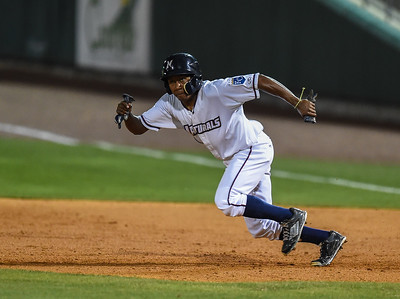 Northwest Arkansas Naturals left fielder Terrance Gore (3) steals second during NWA Naturals vs Tulsa Drillers ballgame at Arvest Ballpark in Springdale, Arkansas, on Thursday, June 25, 2015.  The Drillers won 3-2.  Photos by Alan Jamison.