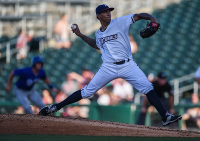 Northwest Arkansas Naturals pitcher J.C. Sulbaran (15) pitches during NWA Naturals vs Tulsa Drillers ballgame at Arvest Ballpark in Springdale, Arkansas, on Thursday, June 25, 2015.  The Drillers won 3-2.  Photos by Alan Jamison.