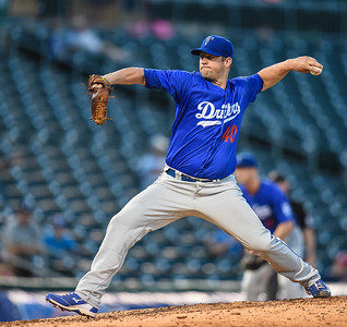 Tulsa Drillers relief pitcher Eric Stults (40) pitches during NWA Naturals vs Tulsa Drillers ballgame at Arvest Ballpark in Springdale, Arkansas, on Thursday, June 25, 2015.  The Drillers won 3-2.  Photos by Alan Jamison.
