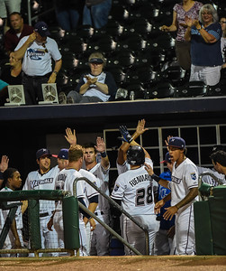Northwest Arkansas Naturals first baseman Balbino Fuenmayor (28) celebrates a home run during NWA Naturals vs Tulsa Drillers ballgame at Arvest Ballpark in Springdale, Arkansas, on Thursday, June 25, 2015.  The Drillers won 3-2.  Photos by Alan Jamison.