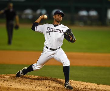 Northwest Arkansas Naturals relief pitcher Malcom Culver (25) pitches during NWA Naturals vs Tulsa Drillers ballgame at Arvest Ballpark in Springdale, Arkansas, on Thursday, June 25, 2015.  The Drillers won 3-2.  Photos by Alan Jamison.