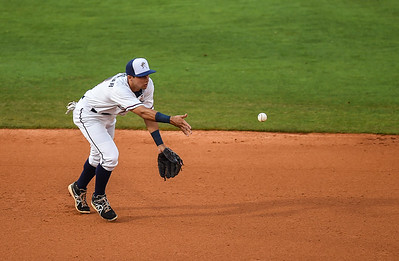 Northwest Arkansas Naturals shortstop Kenny Diekroeger (8) throws to second in a ballgame between the NWA Naturals and the Tulsa Drillers at Arvest Ballpark in Springdale, Arkansas, on Friday, June 26, 2015.  The Drillers won 5-1.  Photos by Alan Jamison.