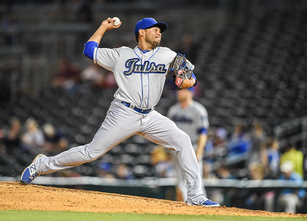 Tulsa Drillers relief pitcher Jorge De Leon (18) pitches in a ballgame between the NWA Naturals and the Tulsa Drillers at Arvest Ballpark in Springdale, Arkansas, on Friday, June 26, 2015.  The Drillers won 5-1.  Photos by Alan Jamison.