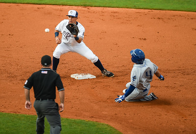 Northwest Arkansas Naturals shortstop Kenny Diekroeger (8) prepares to tag Tulsa Drillers shortstop Ronald Torreyes (4) at second in a ballgame between the NWA Naturals and the Tulsa Drillers at Arvest Ballpark in Springdale, Arkansas, on Friday, June 26, 2015.  The Drillers won 5-1.  Photos by Alan Jamison.