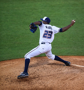 Northwest Arkansas Naturals relief pitcher Ali Williams (23) throws in a ballgame between the NWA Naturals and the Tulsa Drillers at Arvest Ballpark in Springdale, Arkansas, on Friday, June 26, 2015.  The Drillers won 5-1.  Photos by Alan Jamison.