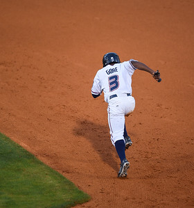 Northwest Arkansas Naturals designated hitter Terrance Gore (3) steals second base in a ballgame between the NWA Naturals and the Tulsa Drillers at Arvest Ballpark in Springdale, Arkansas, on Friday, June 26, 2015.  The Drillers won 5-1.  Photos by Alan Jamison.