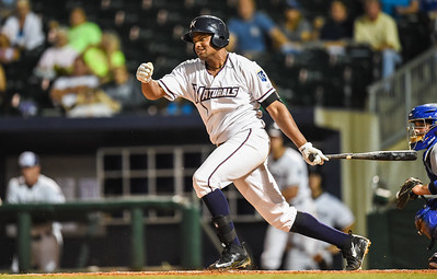 Northwest Arkansas Naturals right fielder Jorge Bonifacio (24) bats in a ballgame between the NWA Naturals and the Tulsa Drillers at Arvest Ballpark in Springdale, Arkansas, on Friday, June 26, 2015.  The Drillers won 5-1.  Photos by Alan Jamison.