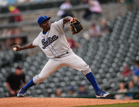 Tulsa Drillers starting pitcher Jharel Cotton (23) pitches in a ballgame between the NWA Naturals and the Tulsa Drillers at Arvest Ballpark in Springdale, Arkansas, on Friday, June 26, 2015.  The Drillers won 5-1.  Photos by Alan Jamison.