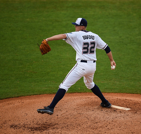 Northwest Arkansas Naturals starting pitcher Christian Binford (32) pitches in a ballgame between the NWA Naturals and the Tulsa Drillers at Arvest Ballpark in Springdale, Arkansas, on Friday, June 26, 2015.  The Drillers won 5-1.  Photos by Alan Jamison.