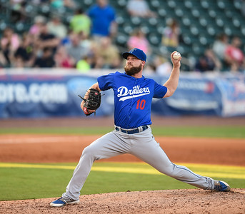 Tulsa Drillers relief pitcher Ryan Dennick (10) pitches in a ballgame between the NWA Naturals and the Tulsa Drillers at Arvest Ballpark in Springdale, Arkansas, on Saturday, June 27, 2015.  The Naturals won 2-1 in extra innings.  Photos by Alan Jamison.