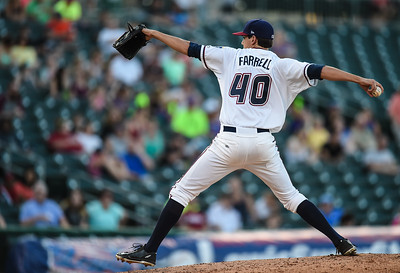 Northwest Arkansas Naturals relief pitcher Luke Farrell (40) pitches in a ballgame between the NWA Naturals and the Tulsa Drillers at Arvest Ballpark in Springdale, Arkansas, on Saturday, June 27, 2015.  The Naturals won 2-1 in extra innings.  Photos by Alan Jamison.