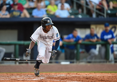 Northwest Arkansas Naturals left fielder Terrance Gore (3) bats in a ballgame between the NWA Naturals and the Tulsa Drillers at Arvest Ballpark in Springdale, Arkansas, on Saturday, June 27, 2015.  The Naturals won 2-1 in extra innings.  Photos by Alan Jamison.