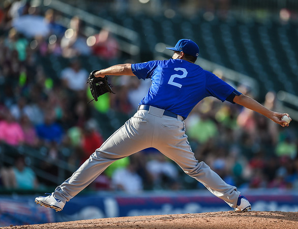 Tulsa Drillers starting pitcher Jose De Leon (2) pitches in a ballgame between the NWA Naturals and the Tulsa Drillers at Arvest Ballpark in Springdale, Arkansas, on Saturday, June 27, 2015.  The Naturals won 2-1 in extra innings.  Photos by Alan Jamison.