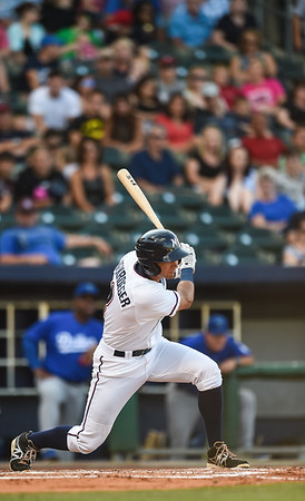 Northwest Arkansas Naturals shortstop Kenny Diekroeger (8) bats in a ballgame between the NWA Naturals and the Tulsa Drillers at Arvest Ballpark in Springdale, Arkansas, on Saturday, June 27, 2015.  The Naturals won 2-1 in extra innings.  Photos by Alan Jamison.