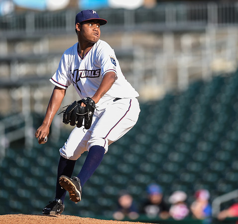 Northwest Arkansas received another solid start by RHP Miguel Almonte as he struck out five Midland batters in five innings while only giving up six hits, two runs, no walks, and kept the Naturals in the ballgame - in a baseball game between the NWA Naturals and the Midland RockHounds at Arvest Ballpark in Springdale, Arkansas, on Sunday, July 12, 2015.  The RockHounds won 2-0.  Photos by Alan Jamison.
