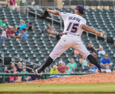 RHP J.C. Sulbaran came in on relief of Almonte in the sixth inning and was fantastic as he held the RockHounds to just two hits and one walk while striking out four in three innings of work - in a baseball game between the NWA Naturals and the Midland RockHounds at Arvest Ballpark in Springdale, Arkansas, on Sunday, July 12, 2015.  The RockHounds won 2-0.  Photos by Alan Jamison.