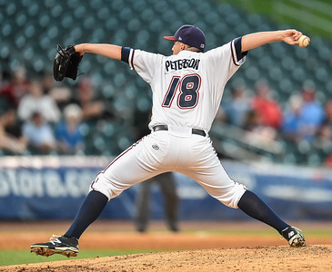 Naturals pitcher Mark Peterson (18) pitches during a baseball game between the NWA Naturals and the Springfield Cardinals at Arvest Ballpark in Springdale, Arkansas, on Thursday, July 30, 2015.  The Cardinals won 6-3.  Photos by Alan Jamison.