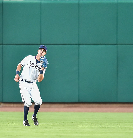 Naturals center fielder Bubba Starling (6) catches a fly ball during a baseball game between the NWA Naturals and the Springfield Cardinals at Arvest Ballpark in Springdale, Arkansas, on Thursday, July 30, 2015.  The Cardinals won 6-3.  Photos by Alan Jamison.