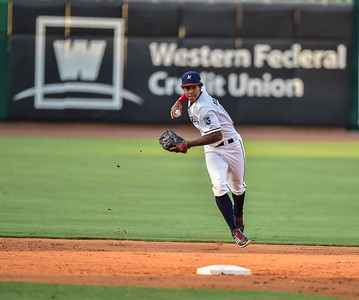 Naturals shortstop Raul Mondesi (2) throws to first during a baseball game between the NWA Naturals and the Springfield Cardinals at Arvest Ballpark in Springdale, Arkansas, on Thursday, July 30, 2015.  The Cardinals won 6-3.  Photos by Alan Jamison.