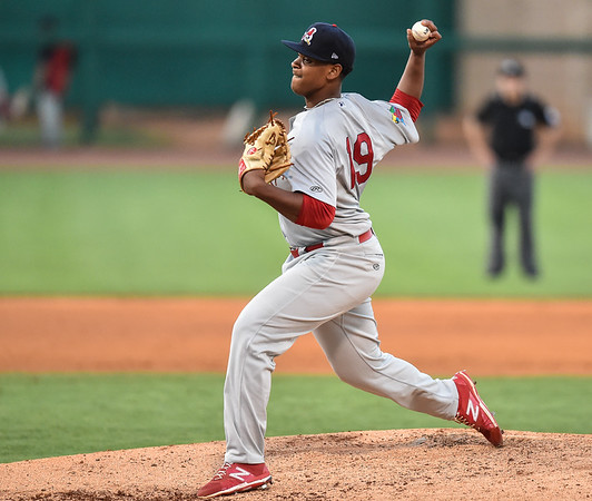 Starting Cardinal pitcher Alex Reyes (19) pitches during a baseball game between the NWA Naturals and the Springfield Cardinals at Arvest Ballpark in Springdale, Arkansas, on Thursday, July 30, 2015.  The Cardinals won 6-3.  Photos by Alan Jamison.