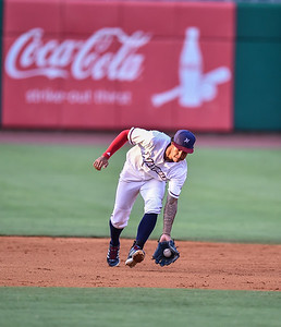 Naturals shortstop Raul Mondesi (2) fields a ball during a baseball game between the NWA Naturals and the Springfield Cardinals at Arvest Ballpark in Springdale, Arkansas, on Thursday, July 30, 2015.  The Cardinals won 6-3.  Photos by Alan Jamison.