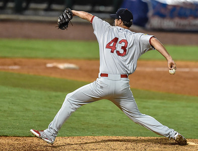 Cardinals pitcher Joey Donofrio (43) pitches during a baseball game between the NWA Naturals and the Springfield Cardinals at Arvest Ballpark in Springdale, Arkansas, on Thursday, July 30, 2015.  The Cardinals won 6-3.  Photos by Alan Jamison.
